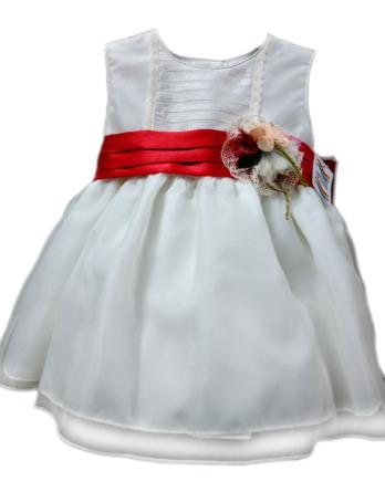 Vestido de niña crudo con lazo rojo 1021
