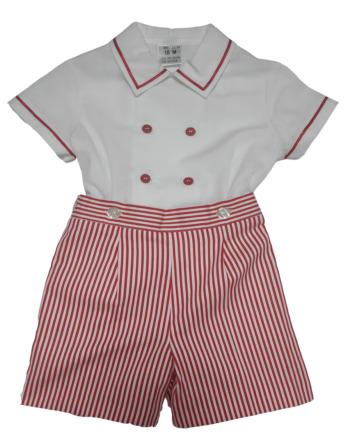 Conjunto de niño rayas rojas y blancas