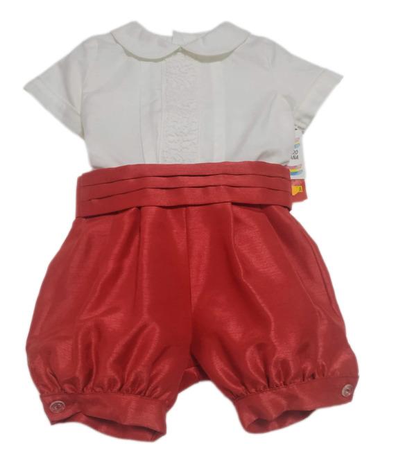 Conjunto de niño de raso rojo y blanco