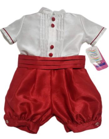Conjunto de niño de raso rojo