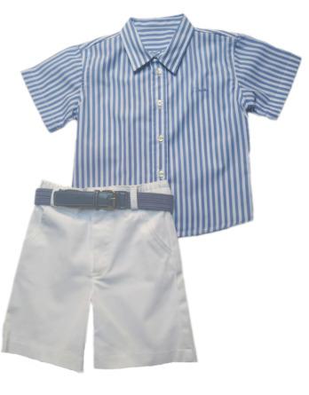 Conjunto niño camisa rayas azules 22609