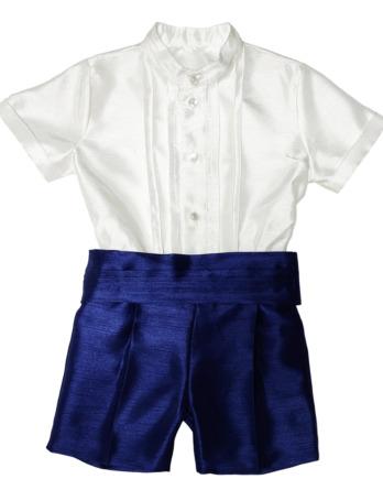 Conjunto de niño de raso azul y blanco