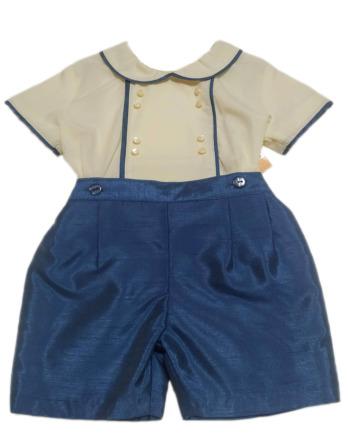 Conjunto de niño de raso crudo y azul