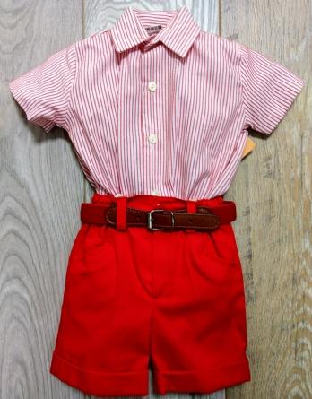 Conjunto niño camisa rayas rojo
