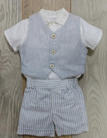 Conjunto de niño con chaleco azul y blanco