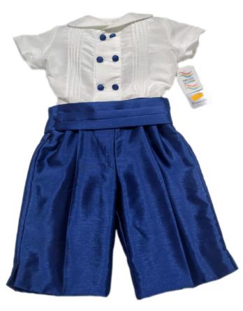 Conjunto de niño de raso marino y blanco