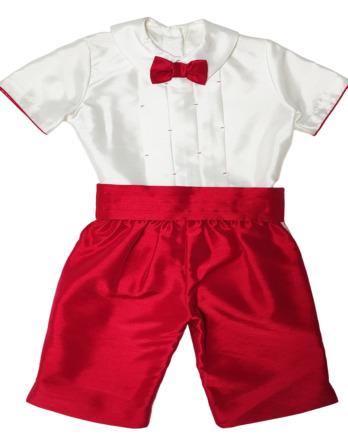Conjunto de niño de raso rojo pajarita