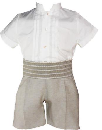 Conjunto de niño pantalón de lino camel