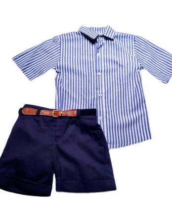 Conjunto de niño camisa rayas marino