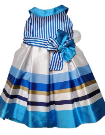 Vestido de niña con rayas azules 737