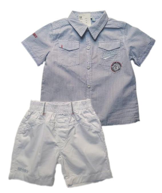Conjunto de niño camisa rayas 7244