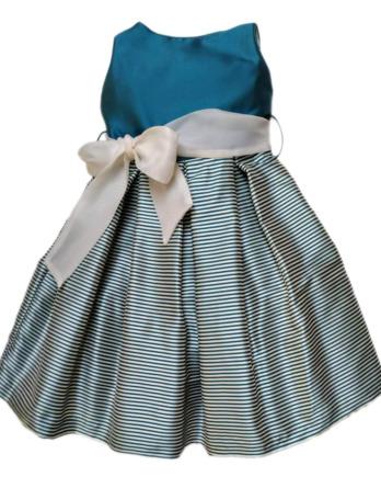 Vestido de niña de rayas turquesa 3409