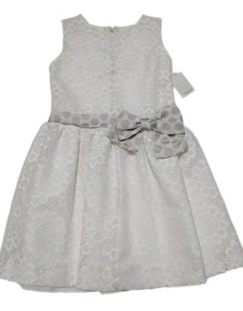 Vestido de niña de encaje y lazo lunares 8077