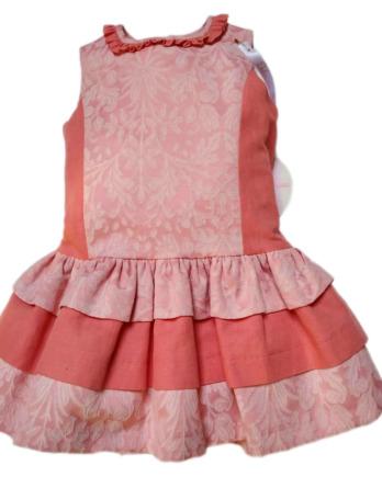 Vestido de niña con flores coral DF16557