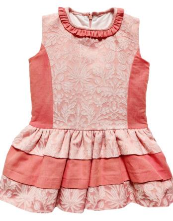 Vestido de niña con flores coral