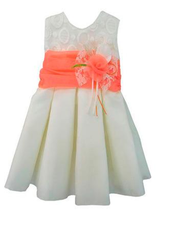 Vestido de niña con lazo coral 1005