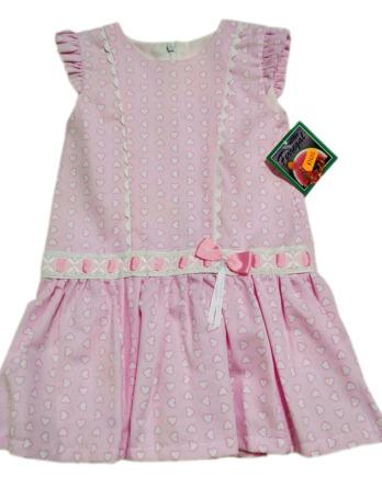 Vestido de niña rosa corazones