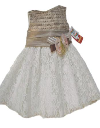 Vestido niña encaje camel y blanco