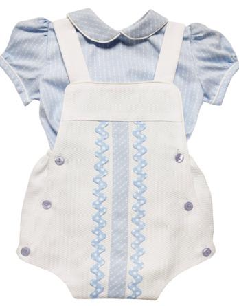 Ranita de bebé de piqué con camisa celeste y blanca