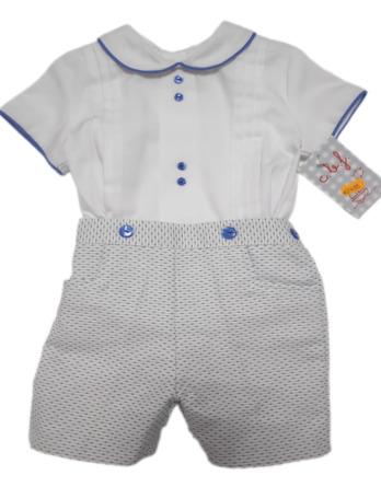 Conjunto bebé vestir piqué azul y blanco