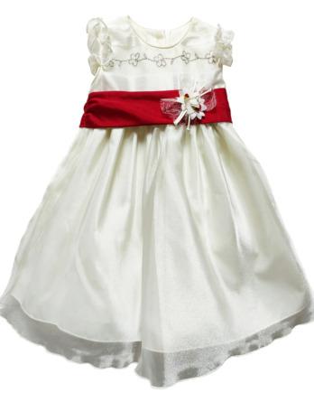 Vestido niña crudo lazo granate 4437