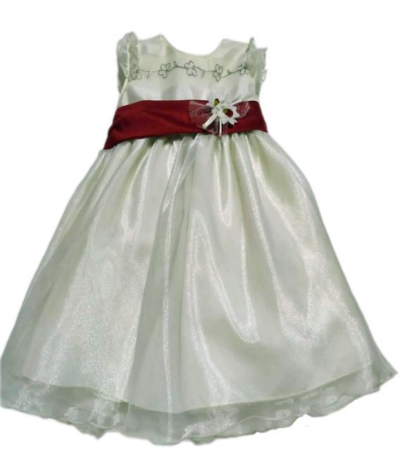 Vestido niña crudo lazo rojo 4437