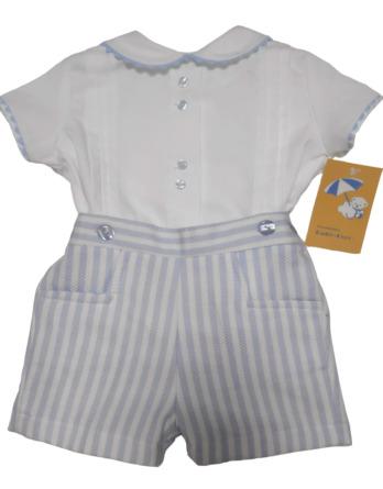 Conjunto bebé vestir piqué celeste y blanco