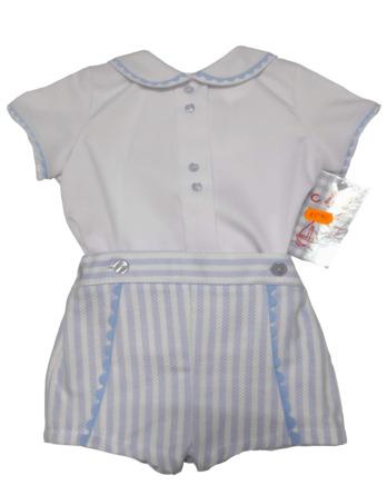 Conjunto de niño de vestir blanco y celeste
