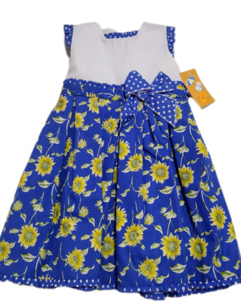 Vestido de niña azul girasoles