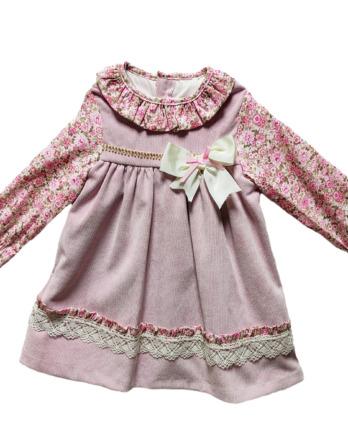 Vestido niña panilla flores manga francesa