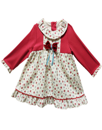 Vestido niña manga larga flores rojo y crudo