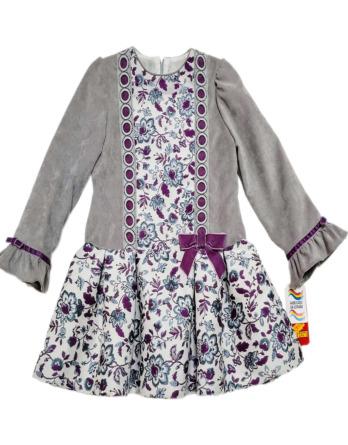 Vestido niña invierno flores gris y lila