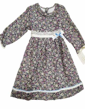 Vestido niña invierno flores lila