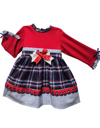 Vestido niña invierno cuadros azules y rojo