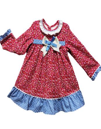 Vestido niña invierno m/l flores rojo y azul