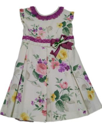 Vestido de niña lino flores crudo y morado 8566