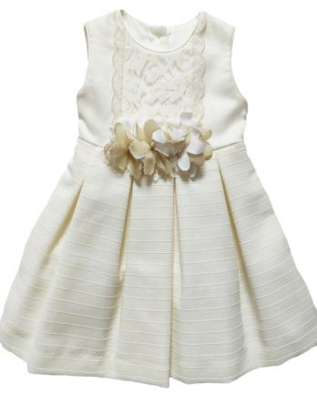 Vestido de niña de fiesta crudo lazo flores 1002