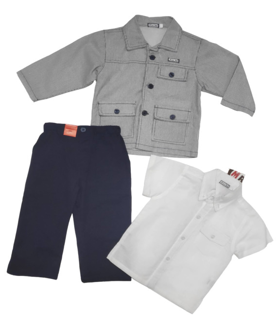 Conjunto de niñode vestir de lino con camisa manga corta 11317