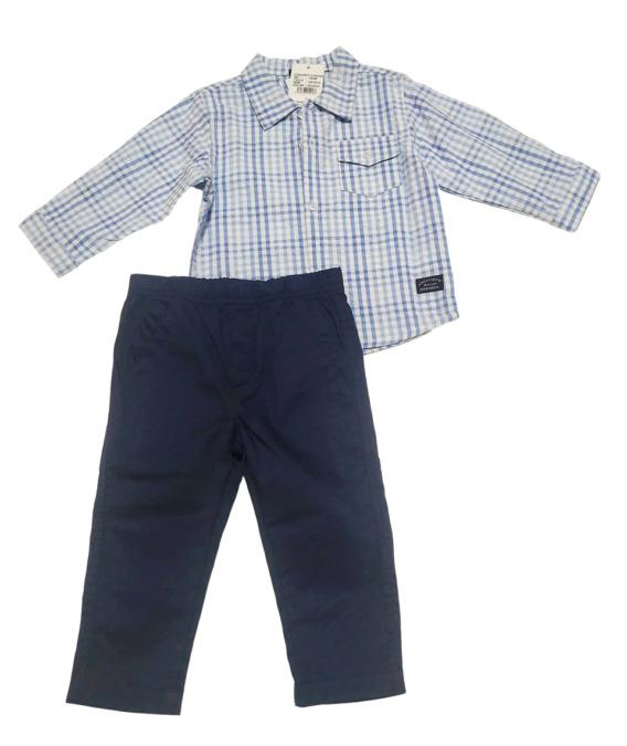 Conjunto de niño de cuadros camisa manga larga