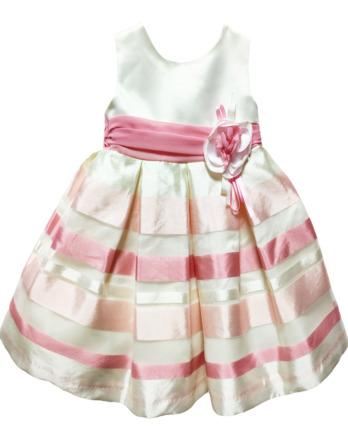 Vestido de niña raso de rayas rosa y crudo