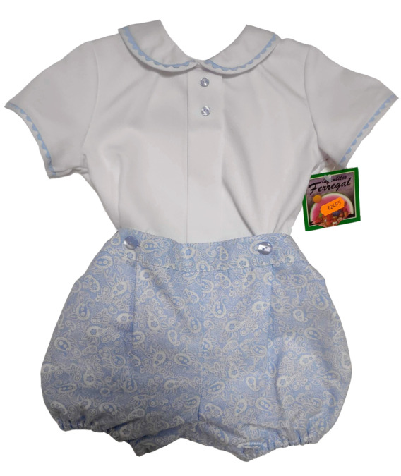 Conjunto de niño de vestir de piqué blanco y celeste