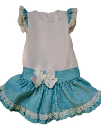Vestido de niña blanco y turquesa 9516