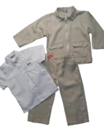 Conjunto de niñode vestir de lino crudo con camisa manga corta 10412_2
