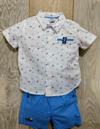 Conjunto niño con camisa barco de papel azul