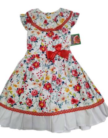 Vestido de niña rojo y blanco con flores
