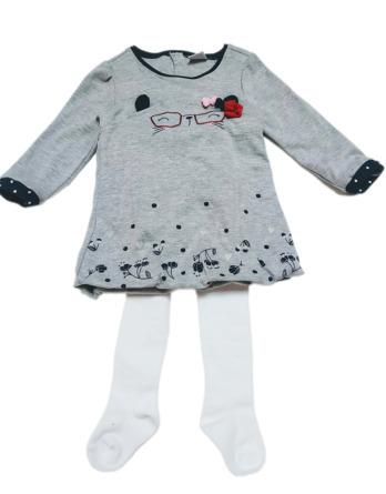 Vestido niña manga larga gris
