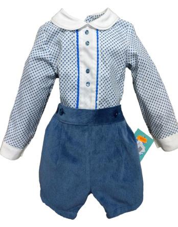 Conjunto de niño de panilla azulón