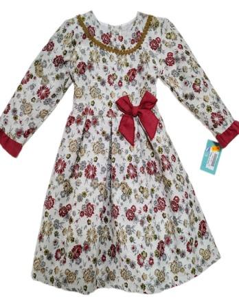 Vestido de niña granate con flores