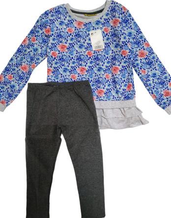 Conjunto de leggings de niña flores azules