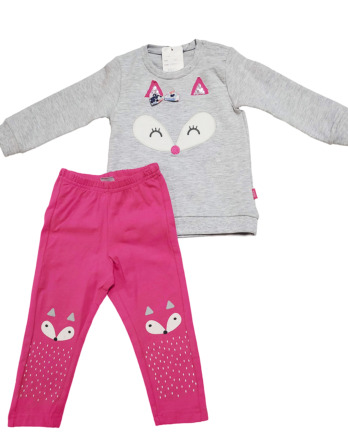Conjunto de leggings de niña gris y fucsia
